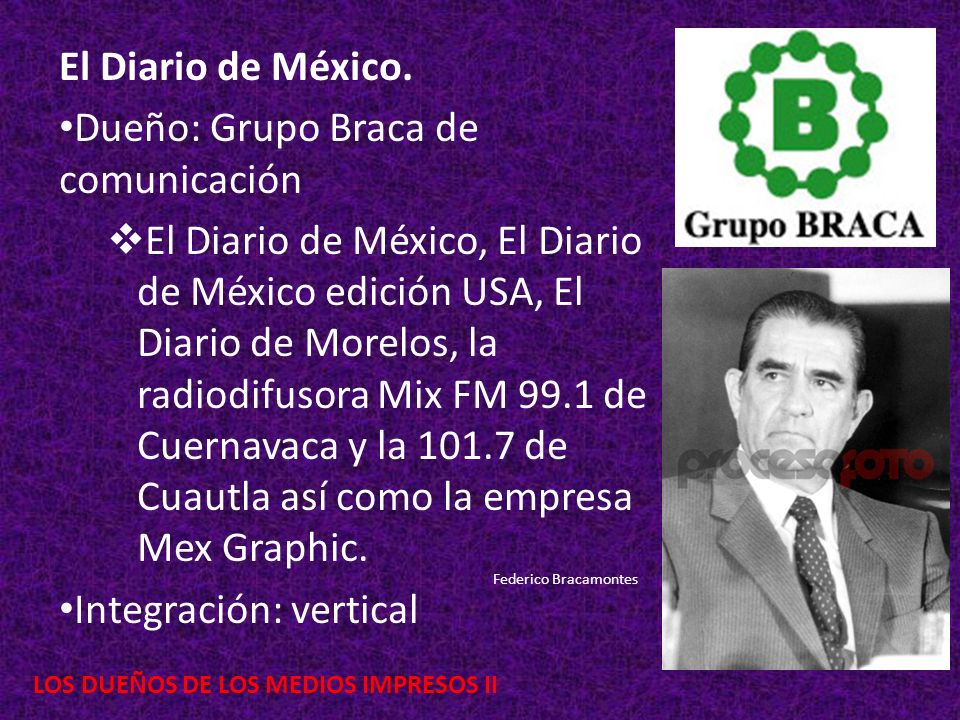 LOS DUEÑOS DE LOS MEDIOS IMPRESOS II El Diario de México. Dueño: Grupo Braca de comunicación El Diario de México, El Diario de México edición USA, El