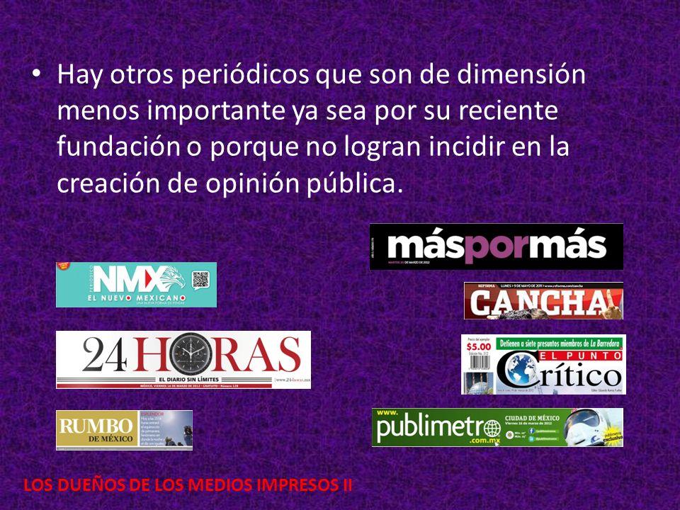 LOS DUEÑOS DE LOS MEDIOS IMPRESOS II Hay otros periódicos que son de dimensión menos importante ya sea por su reciente fundación o porque no logran in