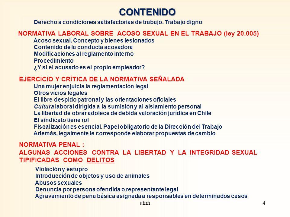 CONTENIDO Derecho a condiciones satisfactorias de trabajo.