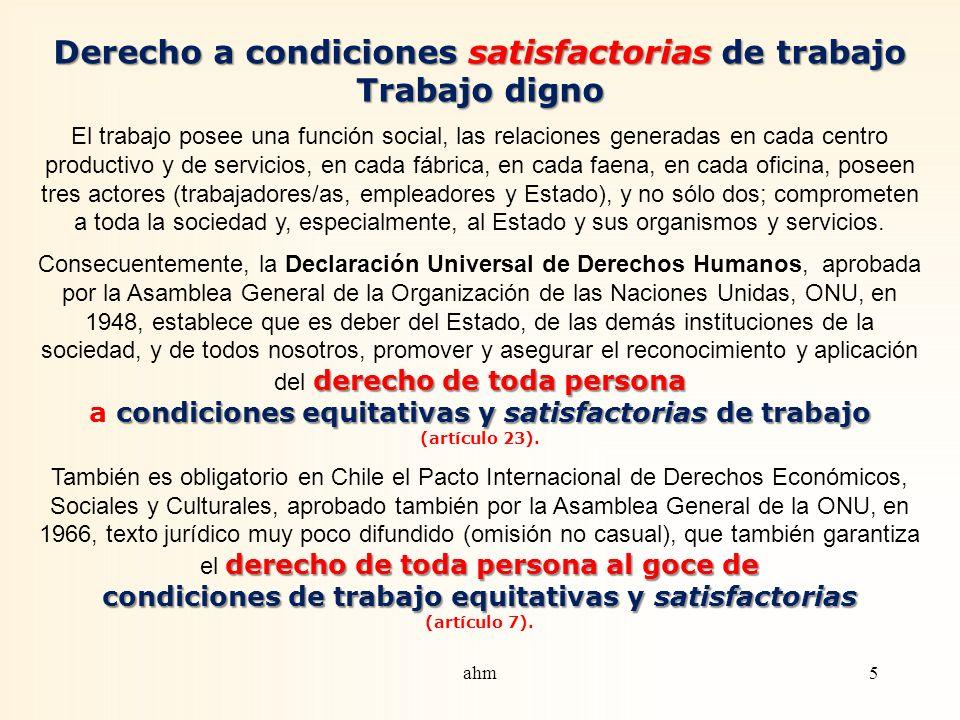 CONTENIDO Derecho a condiciones satisfactorias de trabajo. Trabajo digno NORMATIVA LABORAL SOBRE ACOSO SEXUAL EN EL TRABAJO (ley 20.005) Acoso sexual.