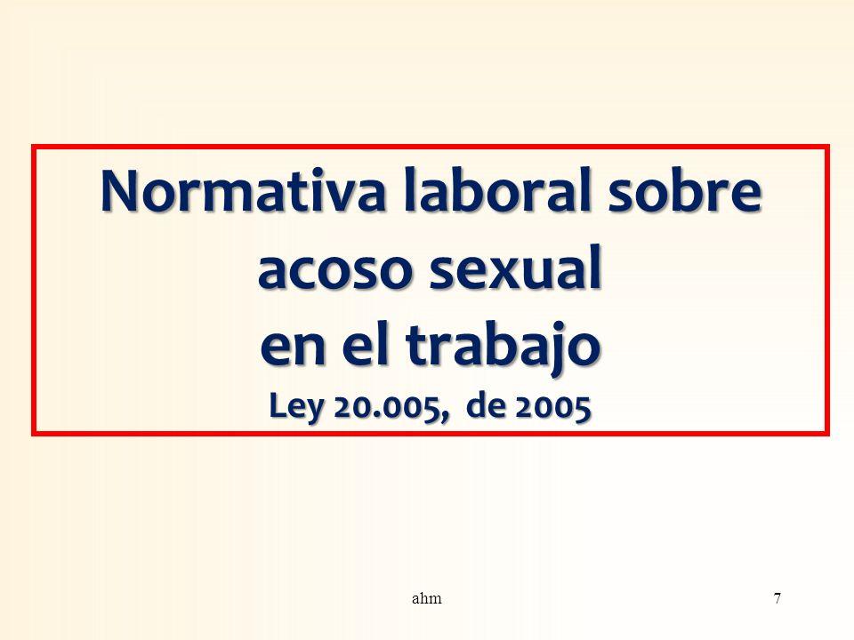Normativa laboral sobre acoso sexual en el trabajo Ley 20.005, de 2005 7ahm