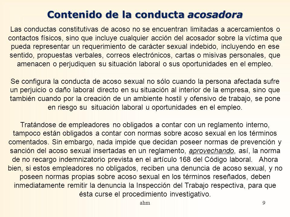 Acoso sexual. Concepto y bienes lesionados La ley 20.005, de 2005, incorporó, al Código del trabajo, nuevos preceptos sobre investigación y sanción de
