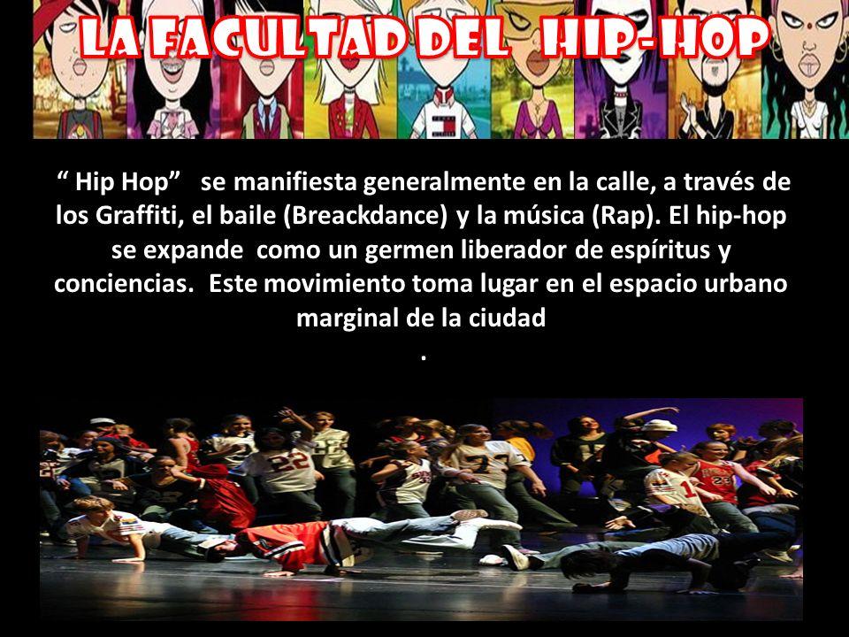 Hip Hop se manifiesta generalmente en la calle, a través de los Graffiti, el baile (Breackdance) y la música (Rap). El hip-hop se expande como un germ