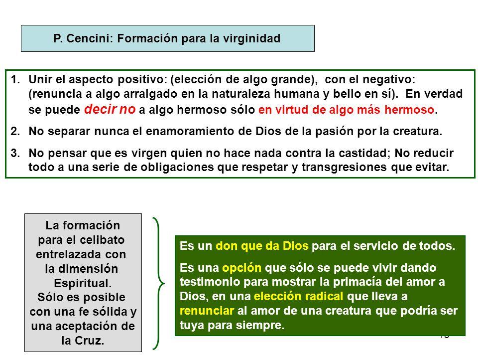 18 P. Cencini: Formación para la virginidad 1.Unir el aspecto positivo: (elección de algo grande), con el negativo: (renuncia a algo arraigado en la n