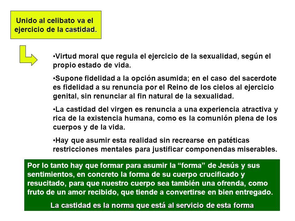 19 Unido al celibato va el castidad. ejercicio de la castidad. Virtud moral que regula el ejercicio de la sexualidad, según el propio estado de vida.