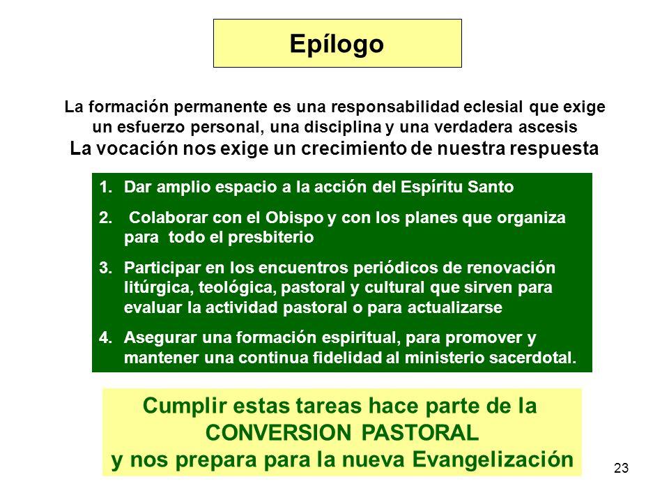 23 Epílogo La formación permanente es una responsabilidad eclesial que exige un esfuerzo personal, una disciplina y una verdadera ascesis La vocación