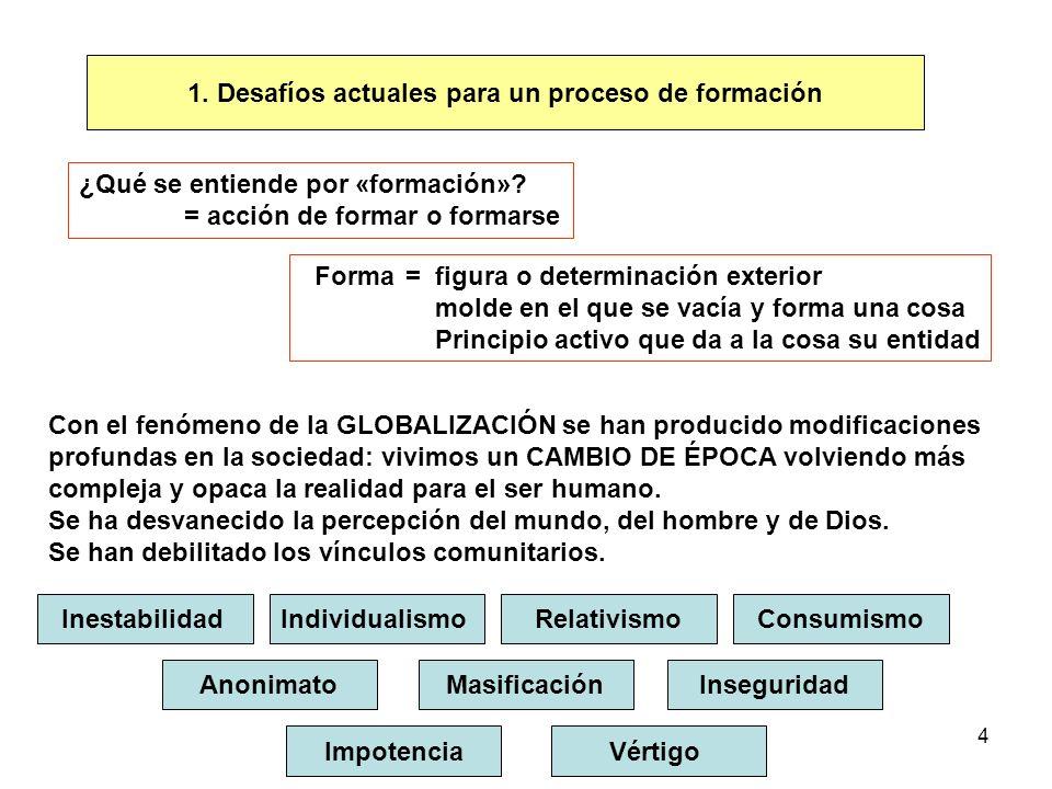4 1. Desafíos actuales para un proceso de formación ¿Qué se entiende por «formación»? = acción de formar o formarse Forma= figura o determinación exte