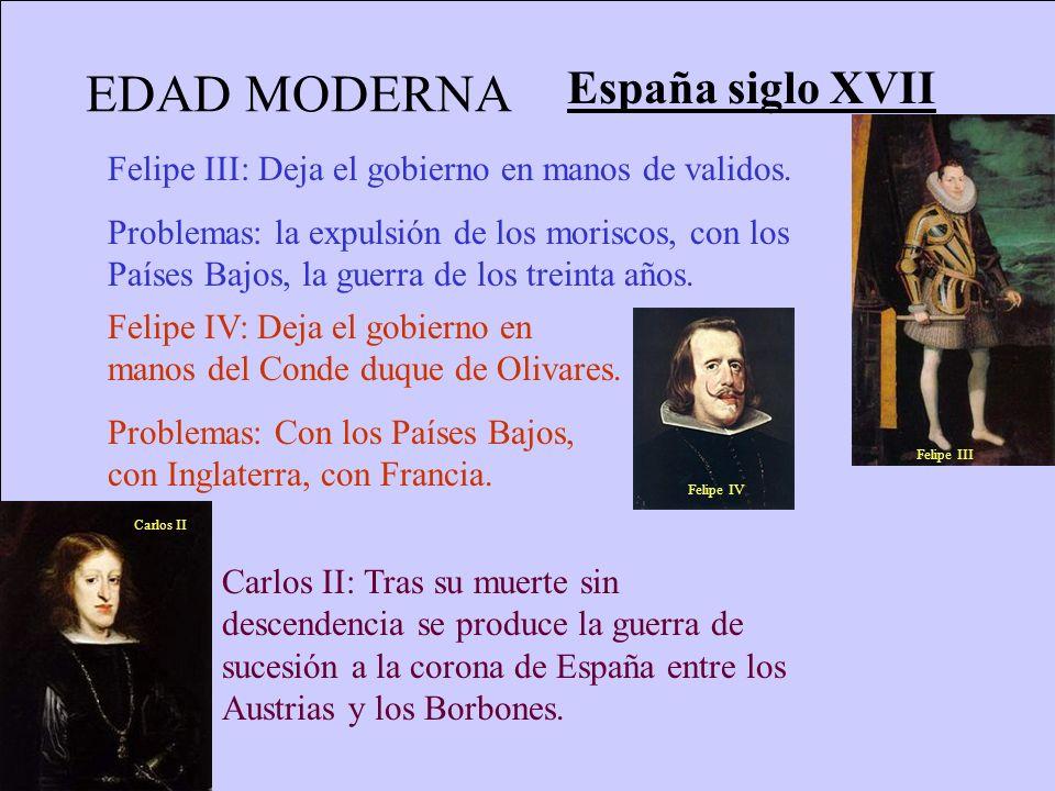 EDAD MODERNA España siglo XVII Felipe III: Deja el gobierno en manos de validos. Problemas: la expulsión de los moriscos, con los Países Bajos, la gue