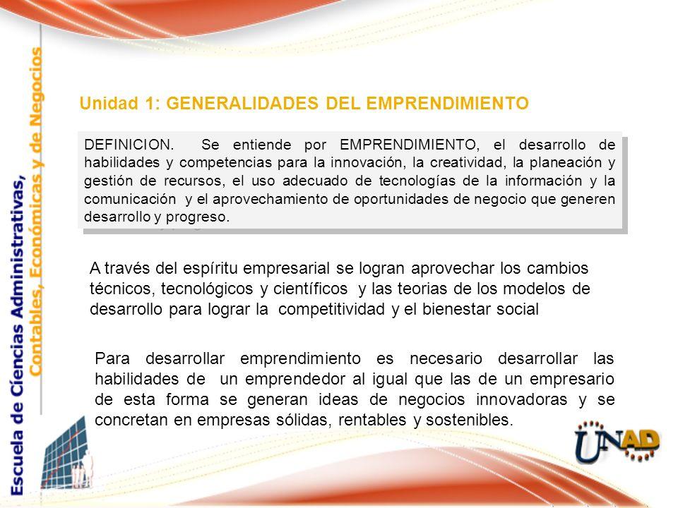 DEFINICION. Se entiende por EMPRENDIMIENTO, el desarrollo de habilidades y competencias para la innovación, la creatividad, la planeación y gestión de