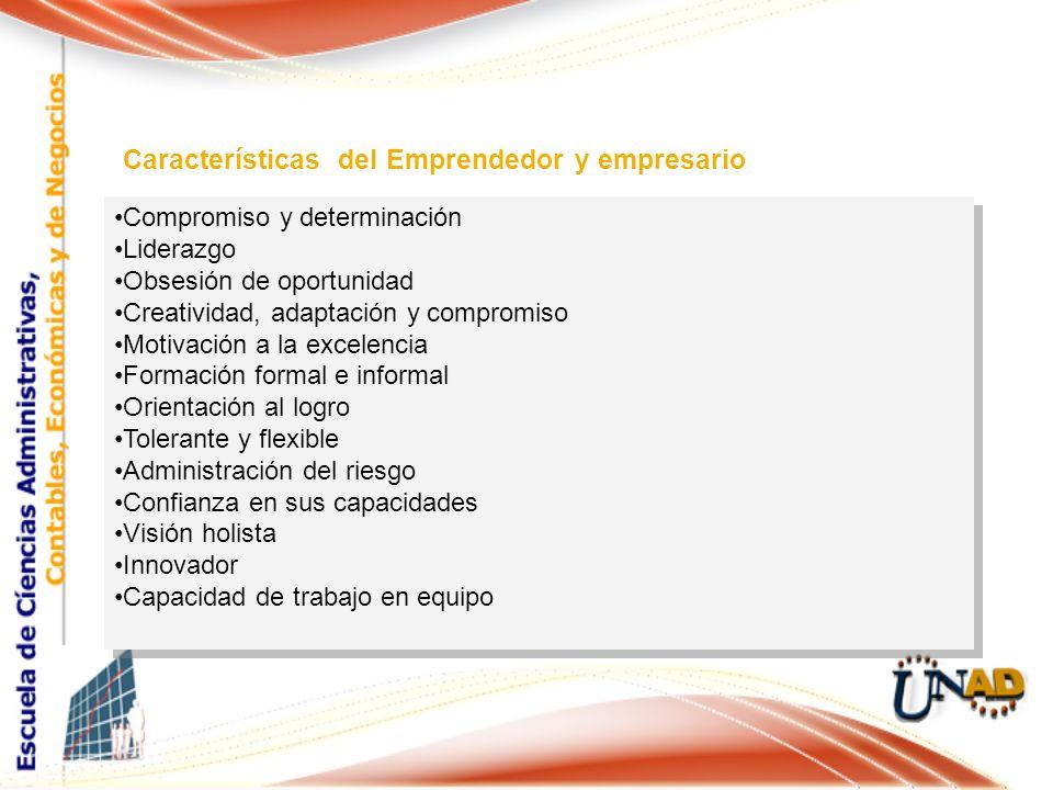 Compromiso y determinación Liderazgo Obsesión de oportunidad Creatividad, adaptación y compromiso Motivación a la excelencia Formación formal e inform