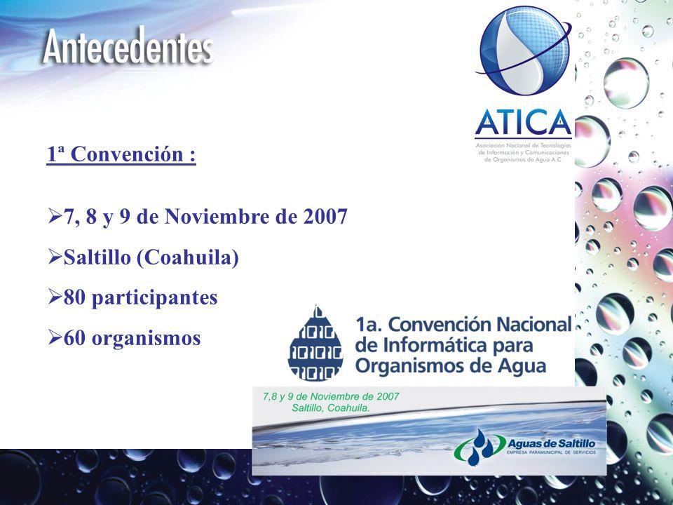 1ª Convención : 7, 8 y 9 de Noviembre de 2007 Saltillo (Coahuila) 80 participantes 60 organismos