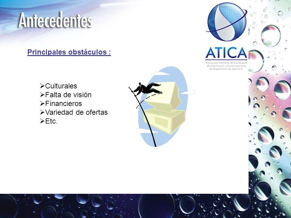 Principales obstáculos : Culturales Falta de visión Financieros Variedad de ofertas Etc.