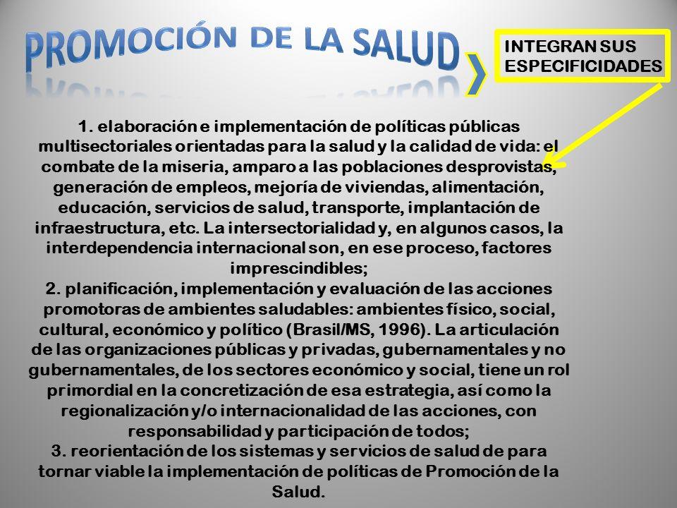 INTEGRAN SUS ESPECIFICIDADES 1. elaboración e implementación de políticas públicas multisectoriales orientadas para la salud y la calidad de vida: el