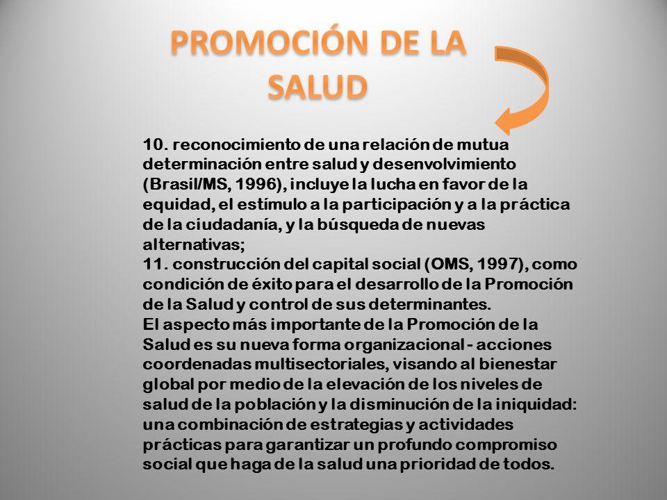 10. reconocimiento de una relación de mutua determinación entre salud y desenvolvimiento (Brasil/MS, 1996), incluye la lucha en favor de la equidad, e