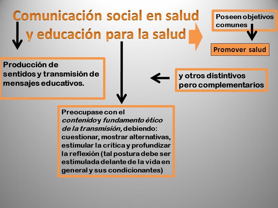 Poseen objetivos comunes Promover salud y otros distintivos pero complementarios Producción de sentidos y transmisión de mensajes educativos. Preocupa