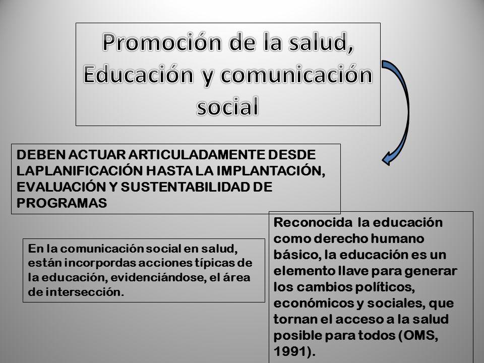 En la comunicación social en salud, están incorpordas acciones típicas de la educación, evidenciándose, el área de intersección. DEBEN ACTUAR ARTICULA