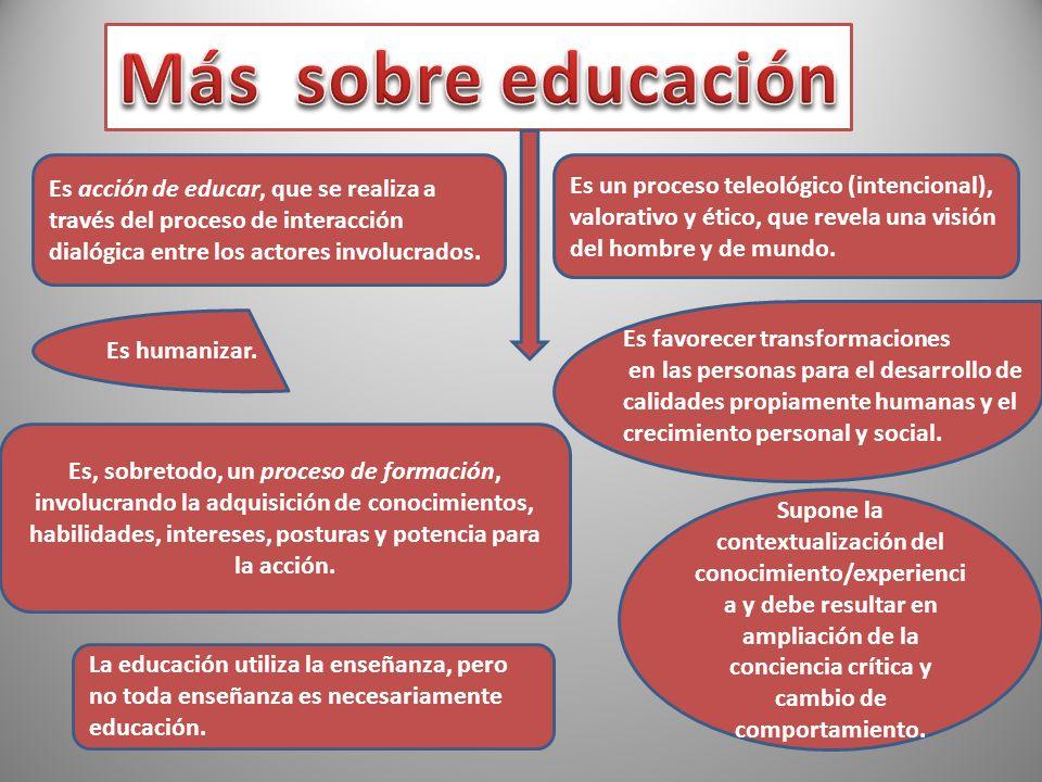 Es acción de educar, que se realiza a través del proceso de interacción dialógica entre los actores involucrados. Es un proceso teleológico (intencion