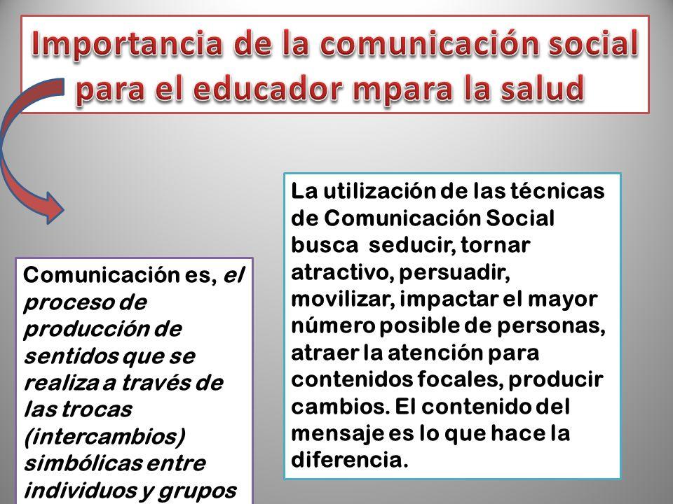 Comunicación es, el proceso de producción de sentidos que se realiza a través de las trocas (intercambios) simbólicas entre individuos y grupos La uti