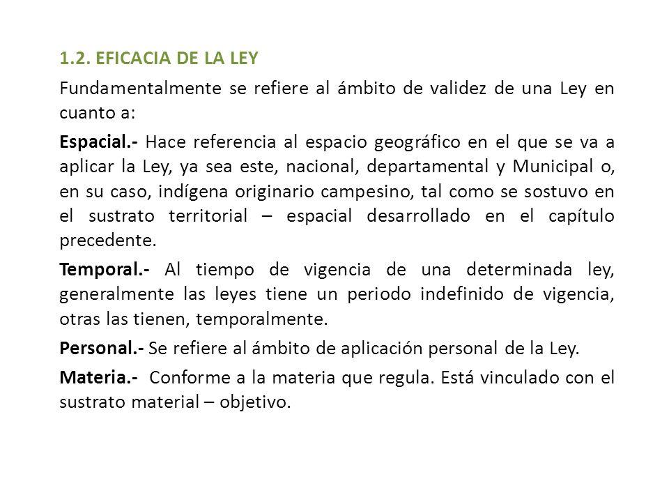 1.2. EFICACIA DE LA LEY Fundamentalmente se refiere al ámbito de validez de una Ley en cuanto a: Espacial.- Hace referencia al espacio geográfico en e