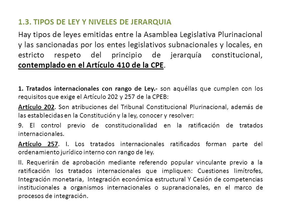 1.3. TIPOS DE LEY Y NIVELES DE JERARQUIA Hay tipos de leyes emitidas entre la Asamblea Legislativa Plurinacional y las sancionadas por los entes legis