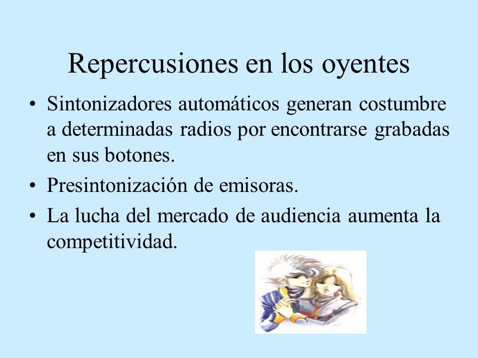 Repercusiones en los oyentes Sintonizadores automáticos generan costumbre a determinadas radios por encontrarse grabadas en sus botones. Presintonizac