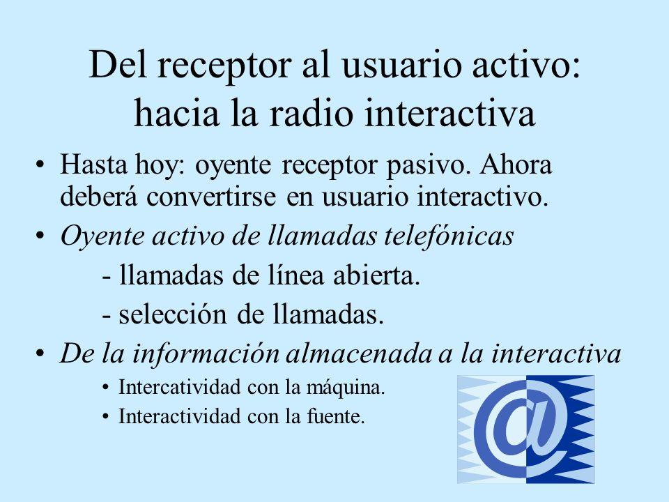 Del receptor al usuario activo: hacia la radio interactiva Hasta hoy: oyente receptor pasivo. Ahora deberá convertirse en usuario interactivo. Oyente