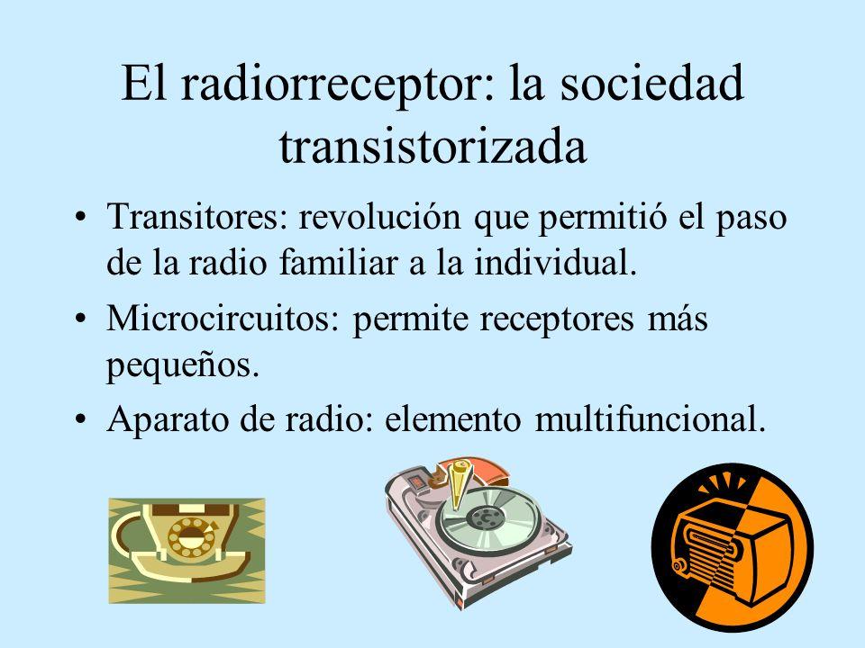 El radiorreceptor: la sociedad transistorizada Transitores: revolución que permitió el paso de la radio familiar a la individual. Microcircuitos: perm