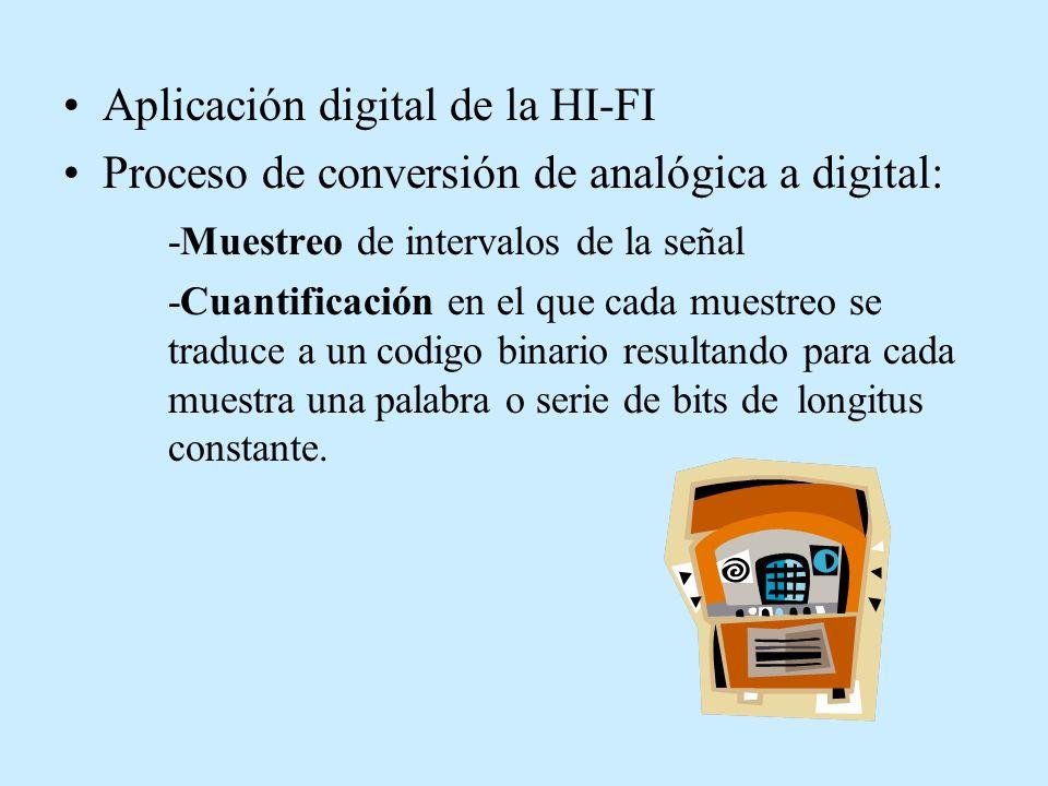 Aplicación digital de la HI-FI Proceso de conversión de analógica a digital: -Muestreo de intervalos de la señal -Cuantificación en el que cada muestr