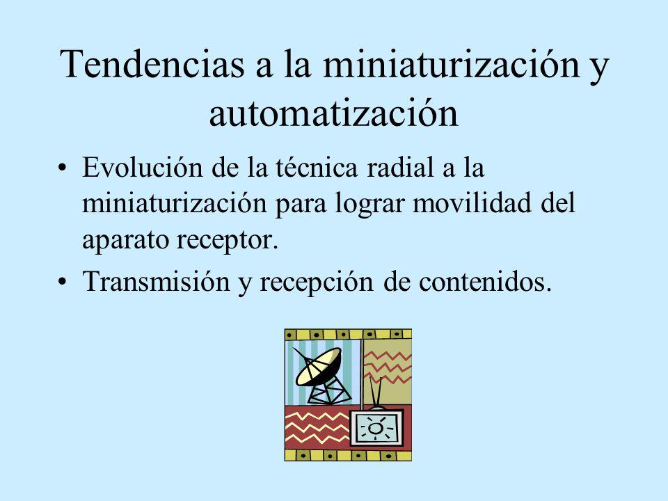 Tendencias a la miniaturización y automatización Evolución de la técnica radial a la miniaturización para lograr movilidad del aparato receptor. Trans
