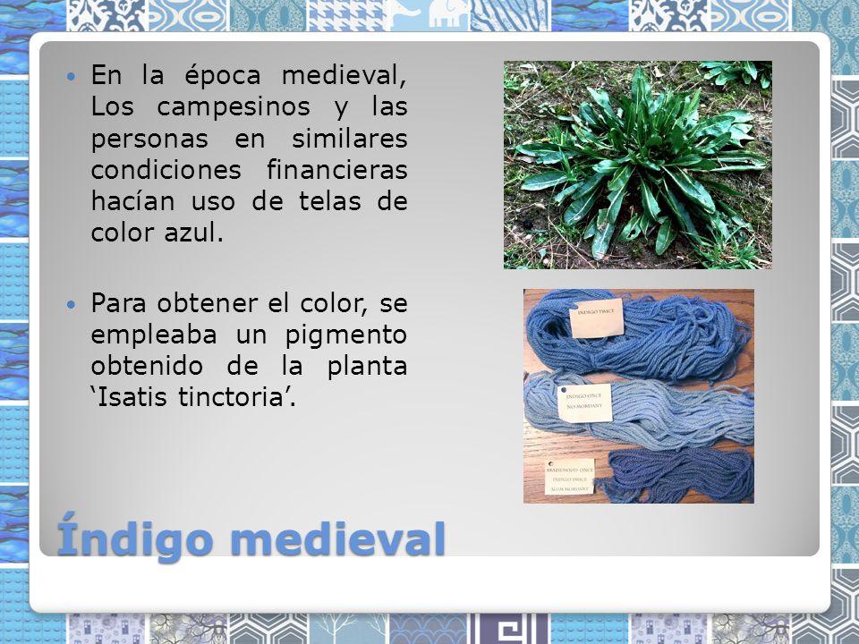 Índigo medieval En la época medieval, Los campesinos y las personas en similares condiciones financieras hacían uso de telas de color azul.