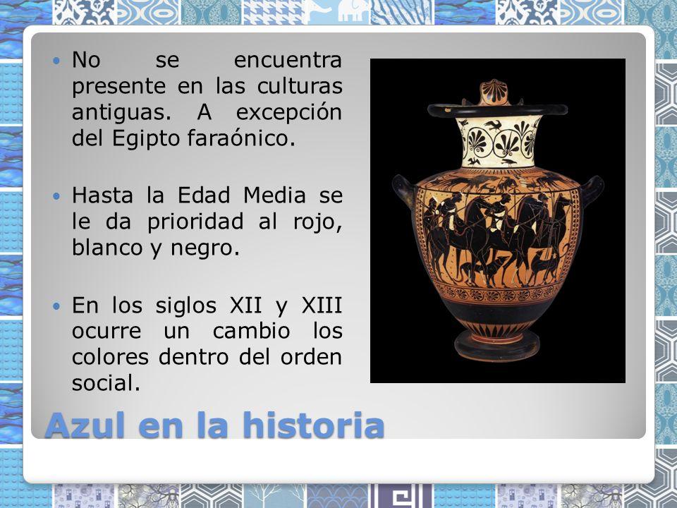 Azul en la historia No se encuentra presente en las culturas antiguas.