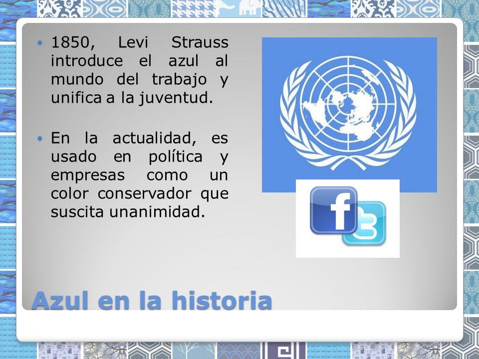 Azul en la historia 1850, Levi Strauss introduce el azul al mundo del trabajo y unifica a la juventud.