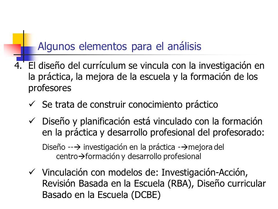 Algunos elementos para el análisis 4.El diseño del currículum se vincula con la investigación en la práctica, la mejora de la escuela y la formación d