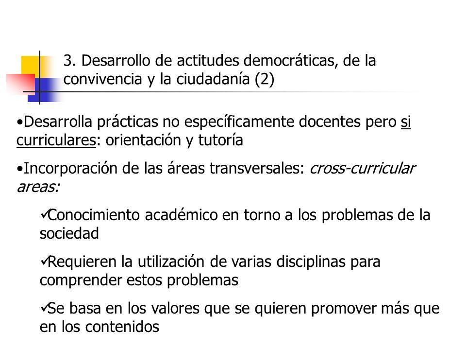 3. Desarrollo de actitudes democráticas, de la convivencia y la ciudadanía (2) Desarrolla prácticas no específicamente docentes pero si curriculares: