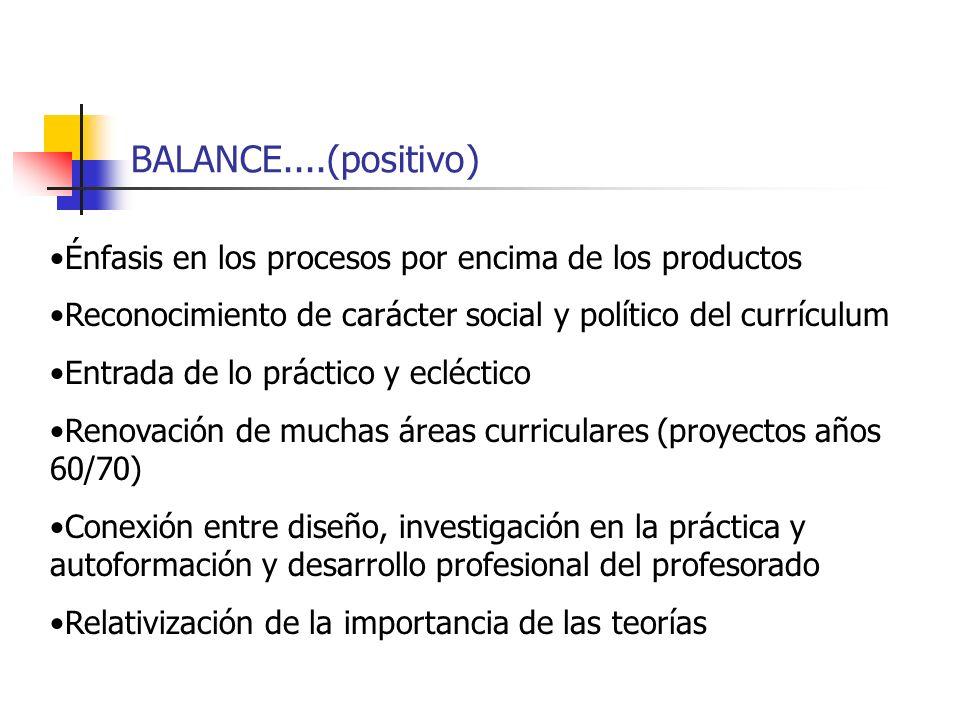 BALANCE....(positivo) Énfasis en los procesos por encima de los productos Reconocimiento de carácter social y político del currículum Entrada de lo pr