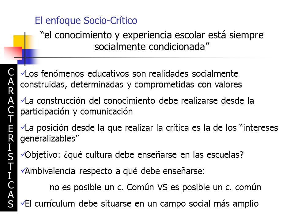 El enfoque Socio-Crítico el conocimiento y experiencia escolar está siempre socialmente condicionada Los fenómenos educativos son realidades socialmen