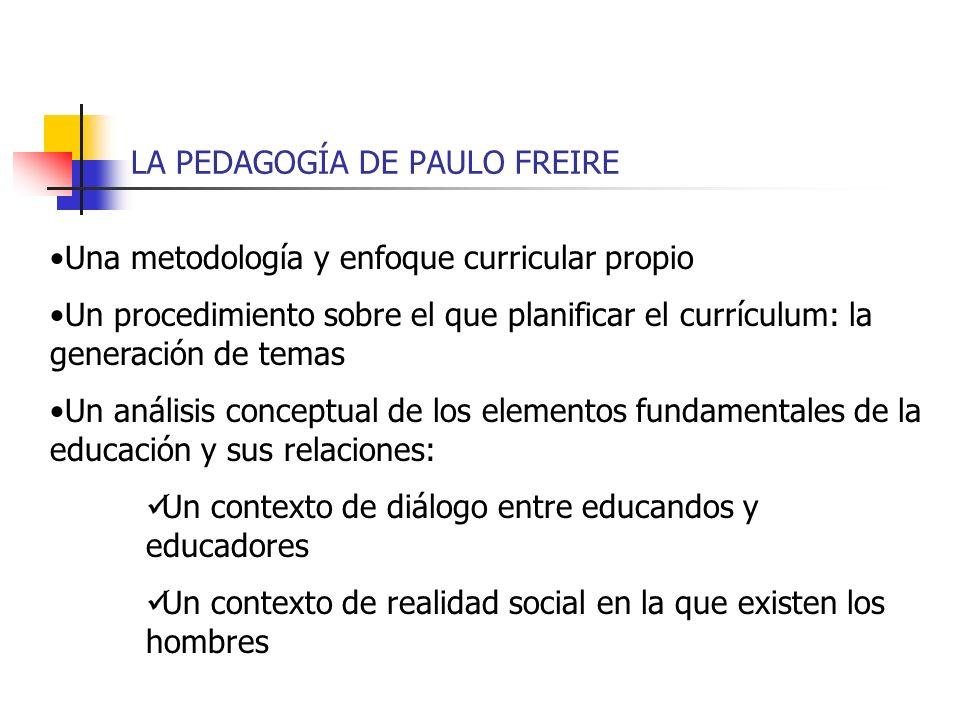 LA PEDAGOGÍA DE PAULO FREIRE Una metodología y enfoque curricular propio Un procedimiento sobre el que planificar el currículum: la generación de tema