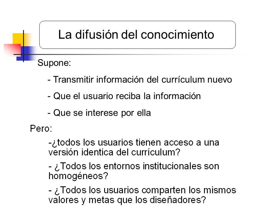 Supone: - Transmitir información del currículum nuevo - Que el usuario reciba la información - Que se interese por ella La difusión del conocimiento