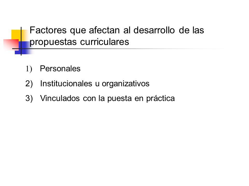 1) Personales 2) Institucionales u organizativos 3) Vinculados con la puesta en práctica Factores que afectan al desarrollo de las propuestas curricul
