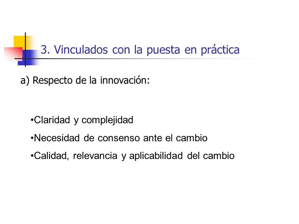 3. Vinculados con la puesta en práctica Claridad y complejidad Necesidad de consenso ante el cambio Calidad, relevancia y aplicabilidad del cambio a)