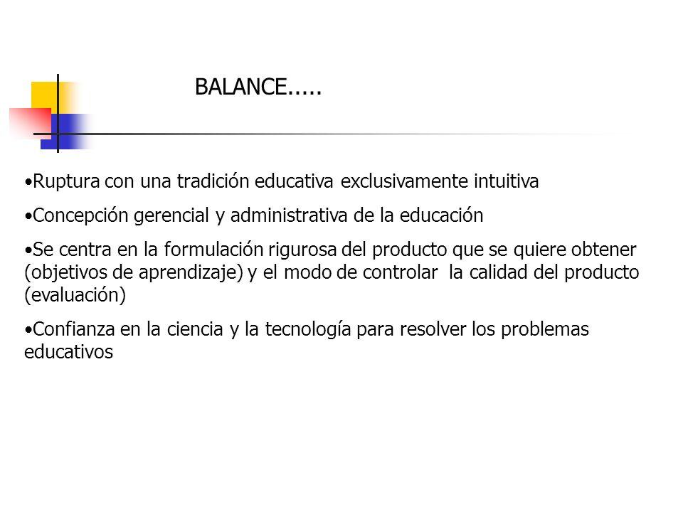 BALANCE..... Ruptura con una tradición educativa exclusivamente intuitiva Concepción gerencial y administrativa de la educación Se centra en la formul