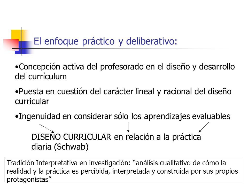 El enfoque práctico y deliberativo: Concepción activa del profesorado en el diseño y desarrollo del currículum Puesta en cuestión del carácter lineal