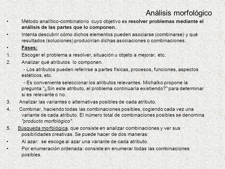 Análisis morfológico Método analítico-combinatorio cuyo objetivo es resolver problemas mediante el análisis de las partes que lo componen.