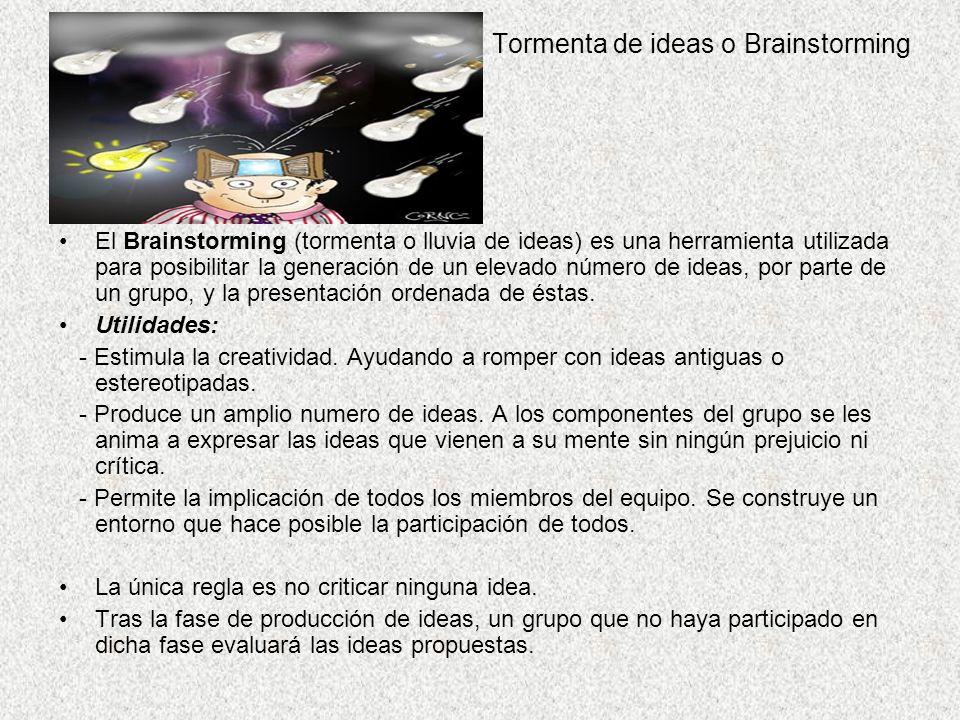 Tormenta de ideas o Brainstorming El Brainstorming (tormenta o lluvia de ideas) es una herramienta utilizada para posibilitar la generación de un elevado número de ideas, por parte de un grupo, y la presentación ordenada de éstas.