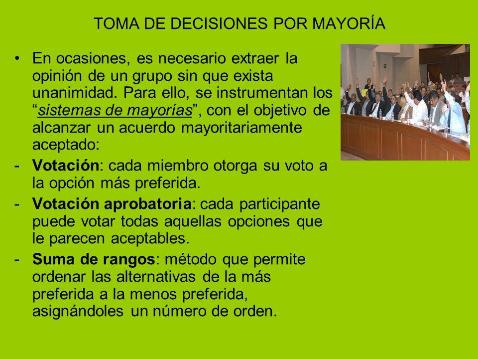 TOMA DE DECISIONES POR MAYORÍA En ocasiones, es necesario extraer la opinión de un grupo sin que exista unanimidad.