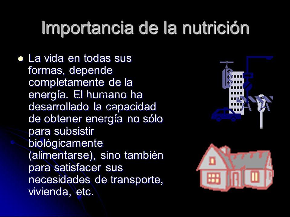 Importancia de la nutrición La vida en todas sus formas, depende completamente de la energía.