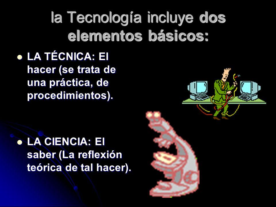 la Tecnología incluye dos elementos básicos: LA TÉCNICA: El hacer (se trata de una práctica, de procedimientos).
