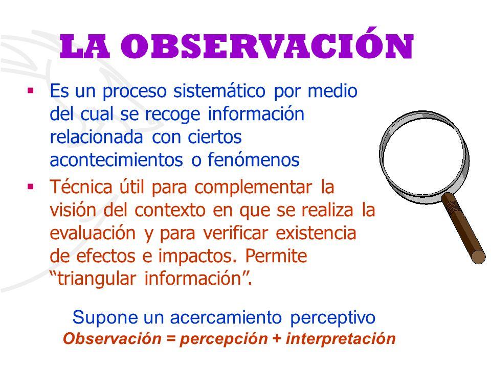 LA OBSERVACIÓN §Es un proceso sistemático por medio del cual se recoge información relacionada con ciertos acontecimientos o fenómenos §Técnica útil p