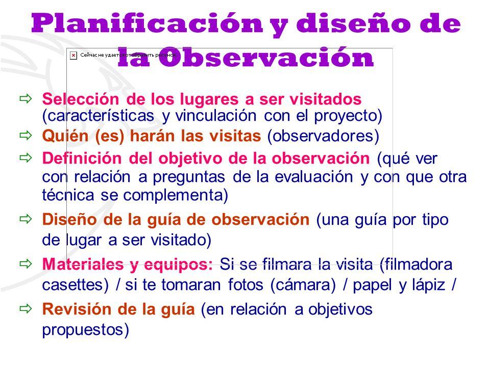 Planificación y diseño de la Observación Selección de los lugares a ser visitados (características y vinculación con el proyecto) Quién (es) harán las