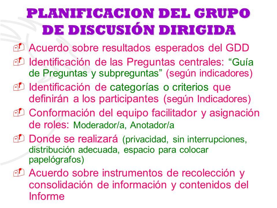 PLANIFICACION DEL GRUPO DE DISCUSIÓN DIRIGIDA Acuerdo sobre resultados esperados del GDD Identificación de las Preguntas centrales: Guía de Preguntas